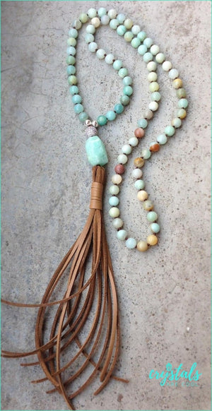 Handmade Amazonite Leather Tassel Necklace - Crystals Are Cool