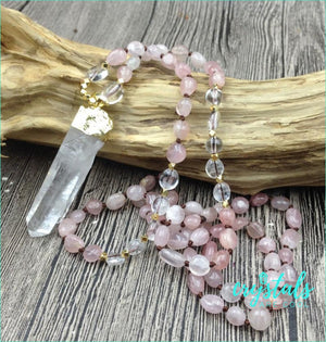 Handmade Rose Quartz Beaded Necklace - Crystals Are Cool
