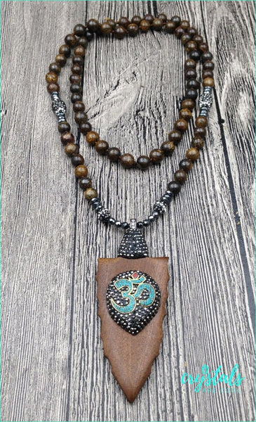 Hematite Wooden OM Necklace - Crystals Are Cool