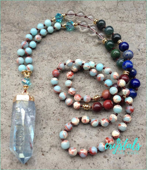 Jasper, Lapis Lazuli & Clear Quartz Point Necklace - Crystals Are Cool