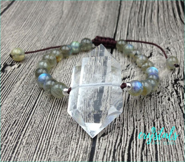Labradorite & Clear Quartz Point Bracelet - Crystals Are Cool