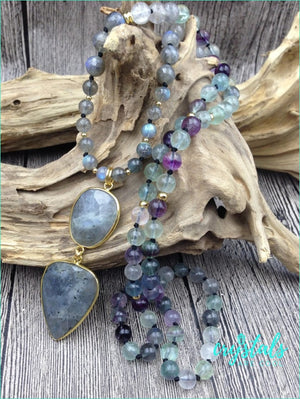 Labradorite & Fluorite Beads Knot Handmade Necklace - Crystals Are Cool