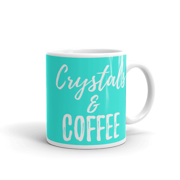 Crystals & Coffee Mug 11oz (Blue) - Crystals Are Cool