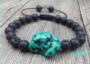 Natural Turquoise & Black Lava Bead Bracelet - Crystals Are Cool