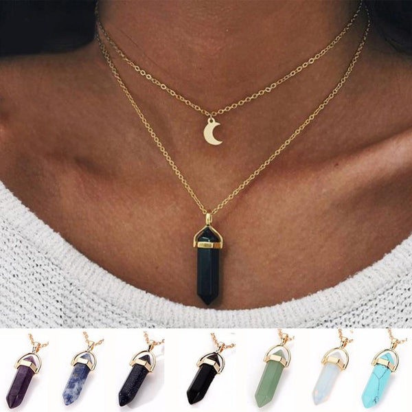 Crystal Moon Necklace - Crystals Are Cool