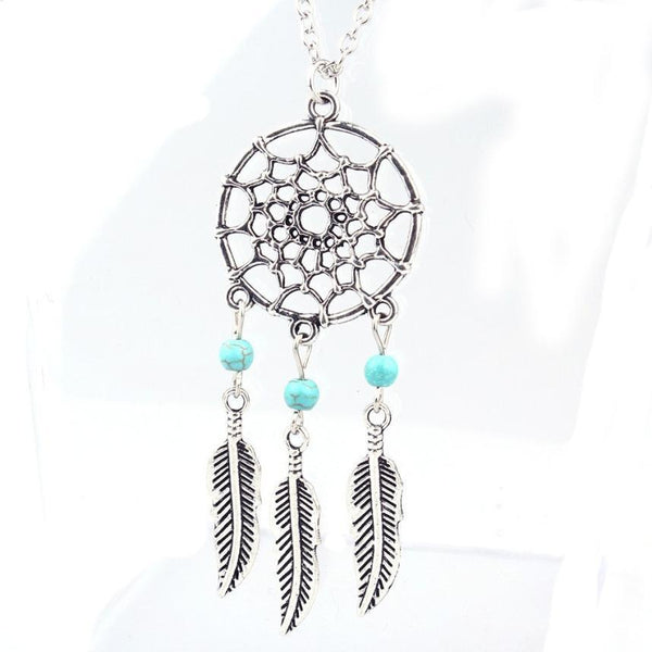 Silver Dream Catcher Necklace - Crystals Are Cool