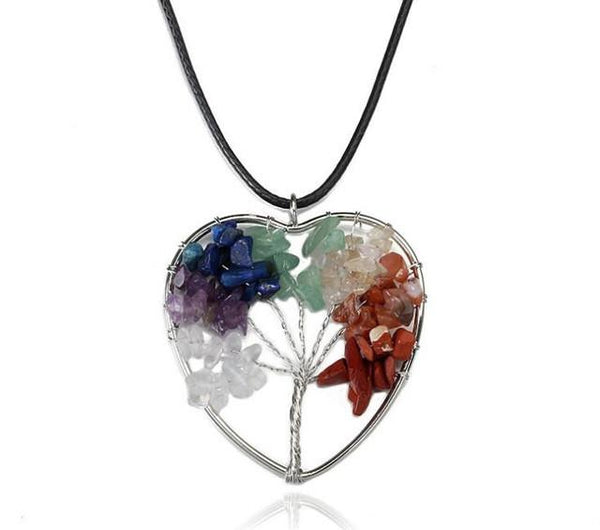 Wire-Wrapped Tree Of Life Chakra Balancing Necklace - Crystals Are Cool