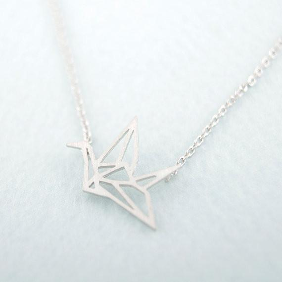 Origami Crane Necklace - Crystals Are Cool