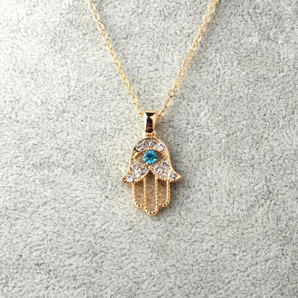 Gold or Silver Hamsa Necklace - Crystals Are Cool