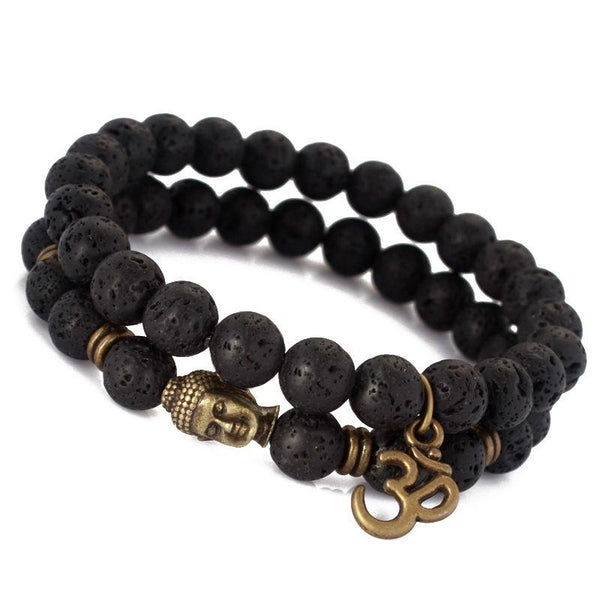 Buddha Om Double Lava Bead Bracelet - Crystals Are Cool