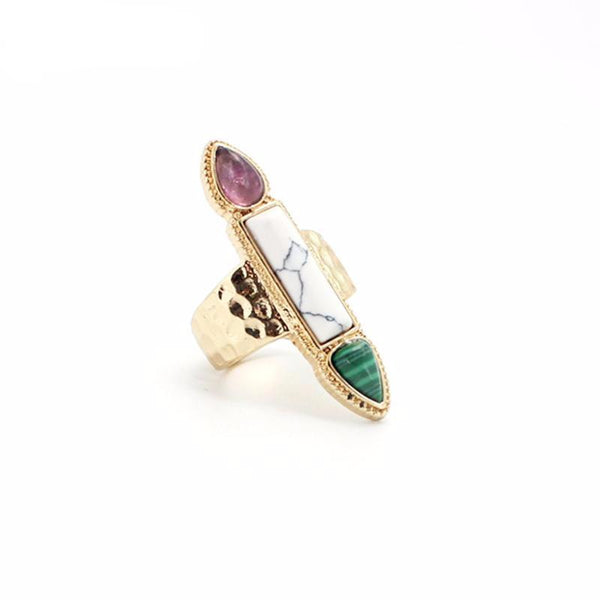 Amethyst, Howlite & Malachite Crystal Point Ring - Crystals Are Cool