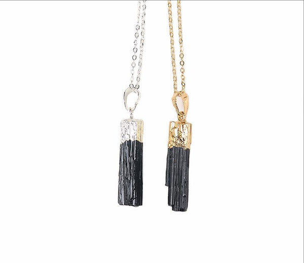 Gold & Silver Dipped Black Tourmaline Pendant Necklace - Crystals Are Cool