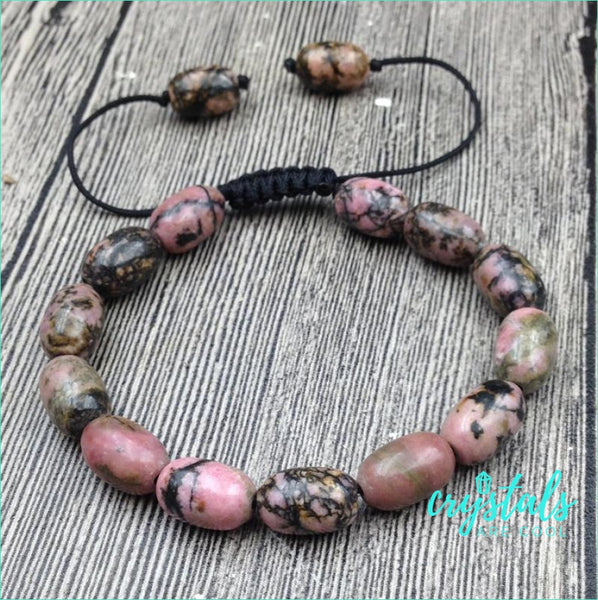 Rhodonite Bead Bracelet - Crystals Are Cool