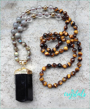 Tigers Eye, Lapis Lazuli & Labradorite Black Tourmaline Necklace - Crystals Are Cool