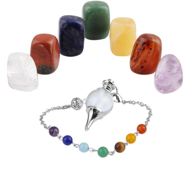 SUNYIK Healing Crystal Kit,7 Chakra Stones Tumbled Stones & Pendulum Meditation Set - Crystals Are Cool