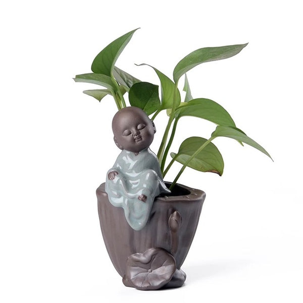 NOOLIM Creative Living Room Small Monk Zen Purple Clay Hydroponics Succulent Flower Pot Small Ornaments Ceramic Table Decor Vase - Crystals Are Cool