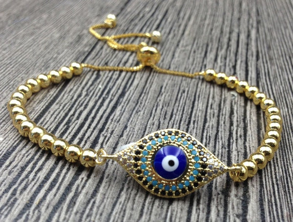 Evil Eye Beaded Bracelet - Crystals Are Cool