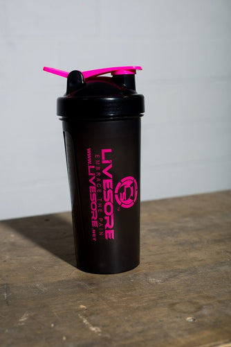 Pink and Black Livesore Shaker Bottle