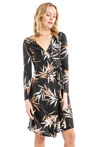 BAMBOO WRAP DRESS (Black)- VD2371