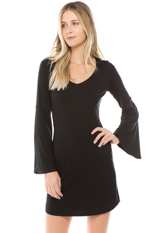 CROSELLA BELL SLEEVE DRESS (BLACK)- VD2416