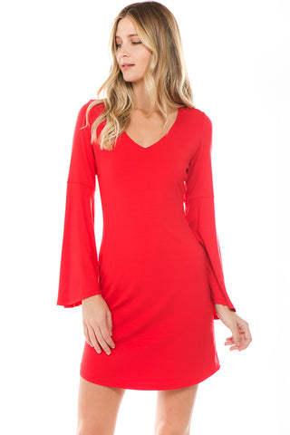 CROSELLA BELL SLEEVE DRESS (RED)-VD2416