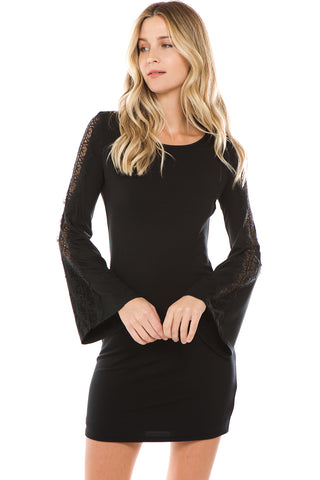 CALLIOPE BELL SLEEVE DRESS(BLACK)- VD2434