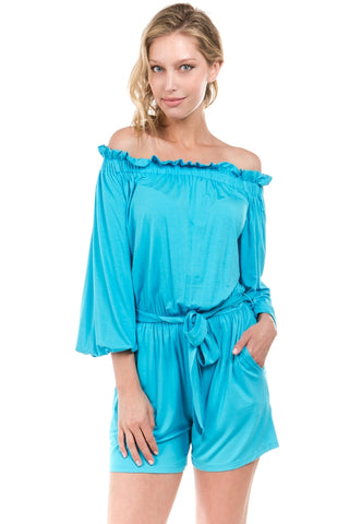 PRISCILLA OFF SH ROMPER (Electric Blue)- VR2199