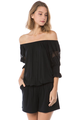 OTTILIE BUBBLE SLEEVE ROMPER (BLACK)- VR2472