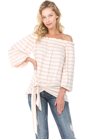 Pre-Order: 5/30/18 MARY OFF SH TOP (Pink)- VT2236