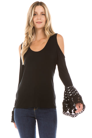 LYDIA BELL SLEEVE TOP (BLACK)- VT2290