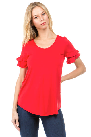 NEVE RUFFLE SLEEVE TOP (RED)- VT2424