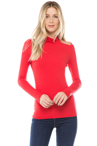 CALLIOPE TURTLE NECK TOP (RED)- VT2431