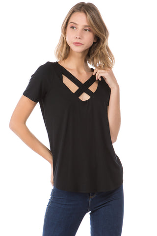 OTTILIE CROSS FRONT TOP (BLACK)- VT2469
