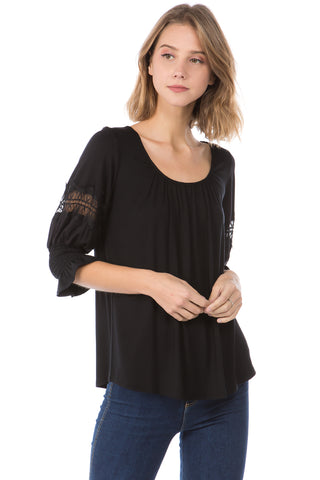 OTTILIE BUBBLE SLEEVE TOP (BLACK)- VT2471