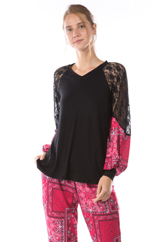 GINA V NECK TOP (BLACK/BANDANA RED )- VT2647