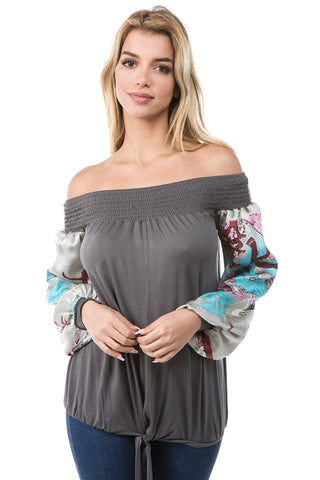 AVELINE OFF SHOULDER TOP (CHARCOAL)- VT2655