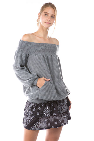 ALIA OFF SHOULDER TOP (BRUSH GREY)-VT2792