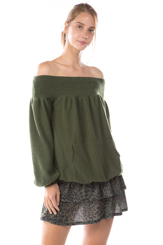 ALIA OFF SHOULDER TOP (BRUSH OLIVE)-VT2792