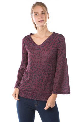 HATTIE BELL SLEEVE TOP (LEOPARD WINE)-VT2796