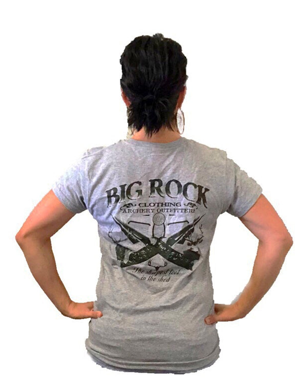 Ladies t-shirt- Sharpest tool in the shed(big rock oval on front)