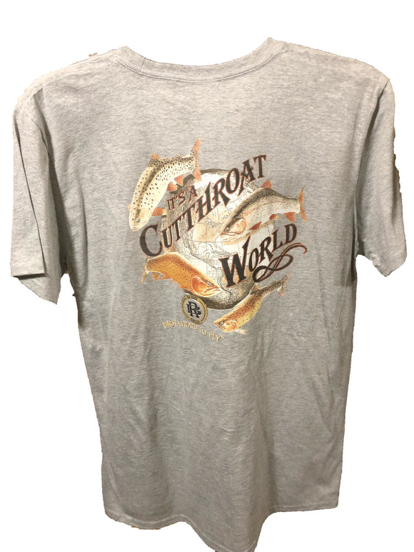 Value Rock Cutthroat World T shirt( not a big rock brand shirt, fit is like a standard tee)