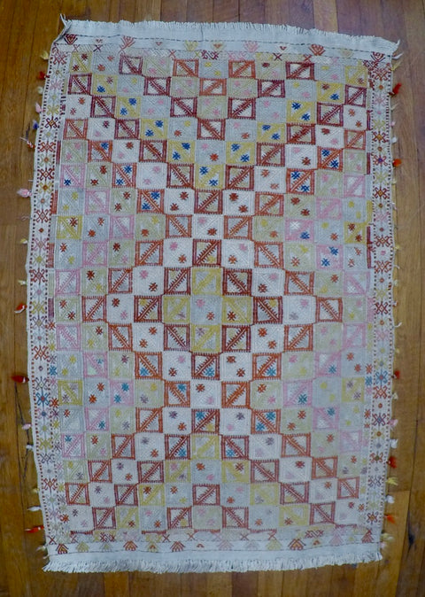"Vintage Wool on Cotton Cicim Kilim 2'6"" X 3'11"""