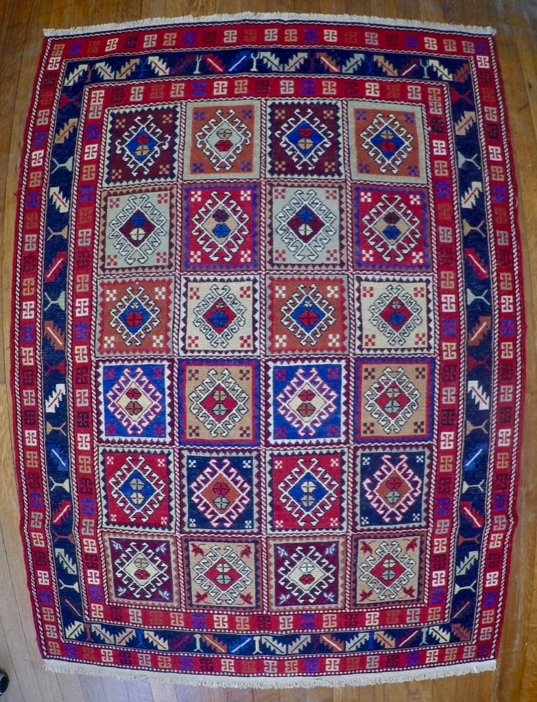 "New Wool on Cotton Rahra Soumak 3'5"" X 4'10"""