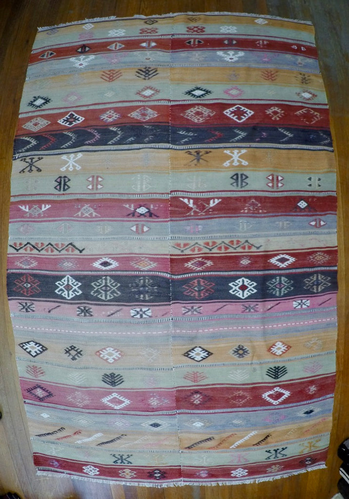 "Vintage Wool on Cotton Cicim Kilim 4'1"" X 6'6"""