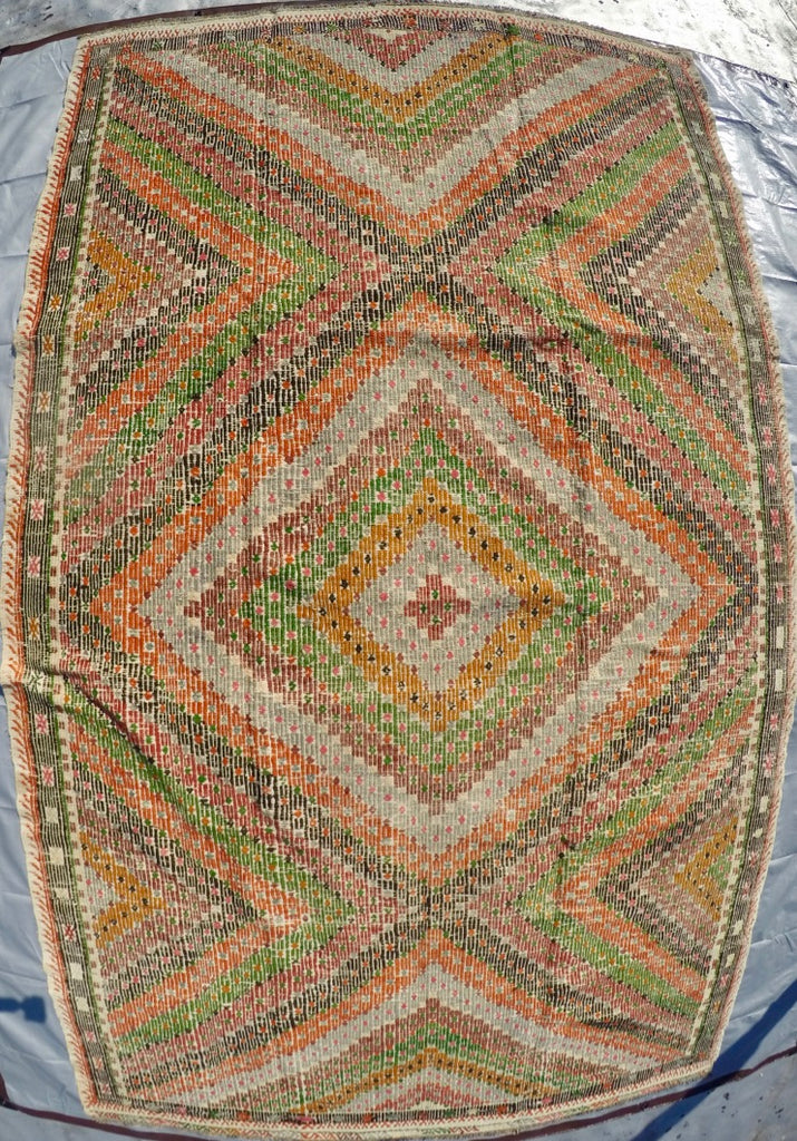 "Vintage Wool on Cotton Cicim Soumak Kilim 5'9"" X 9'10"""