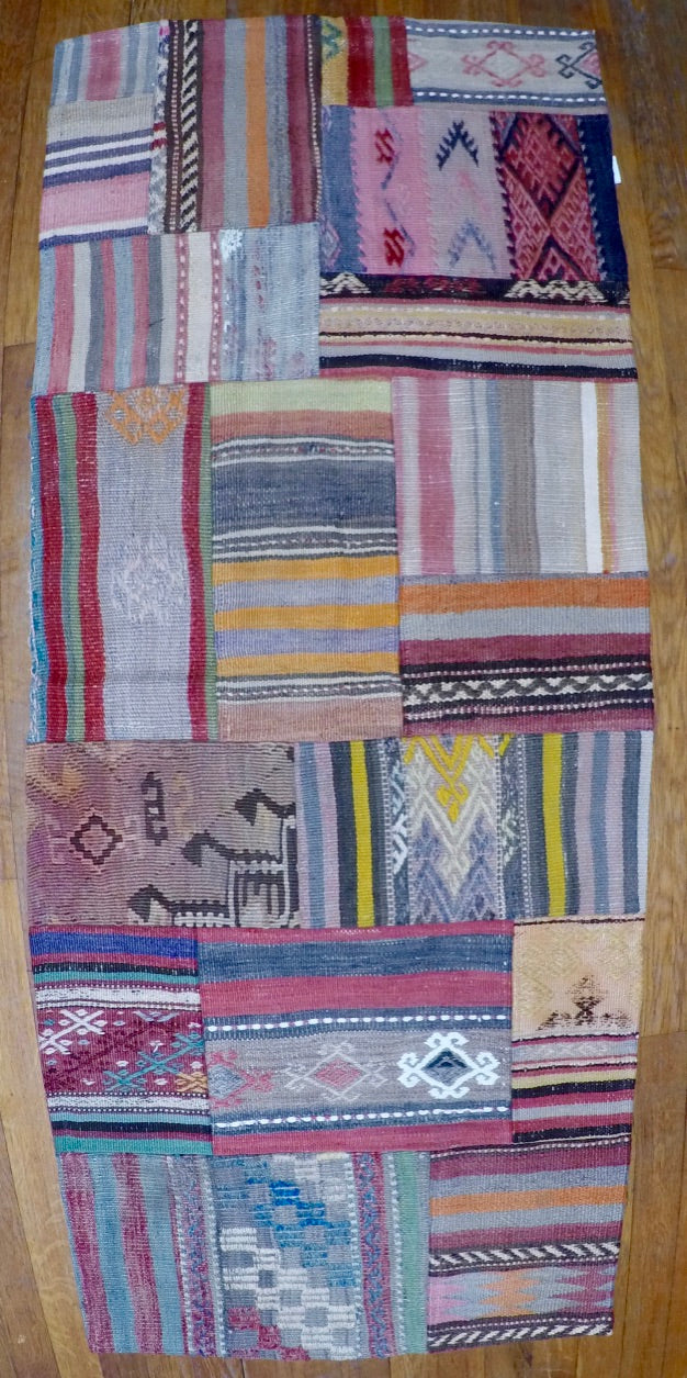 Vintage Wool on Wool Patchwork Kilim 2' X 5'