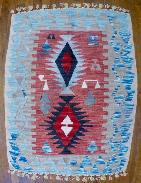 "New Wool on Wool Kilim 2'7"" X 3'6"""