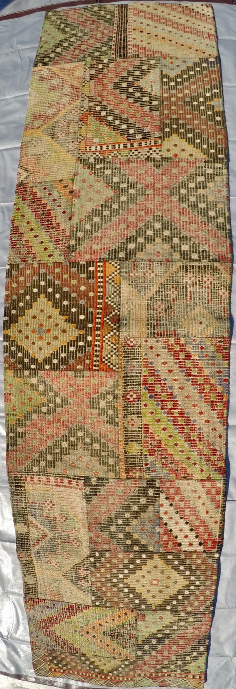 "Vintage Wool on Wool Patchwork Kilim 2'5"" X 9'8"""