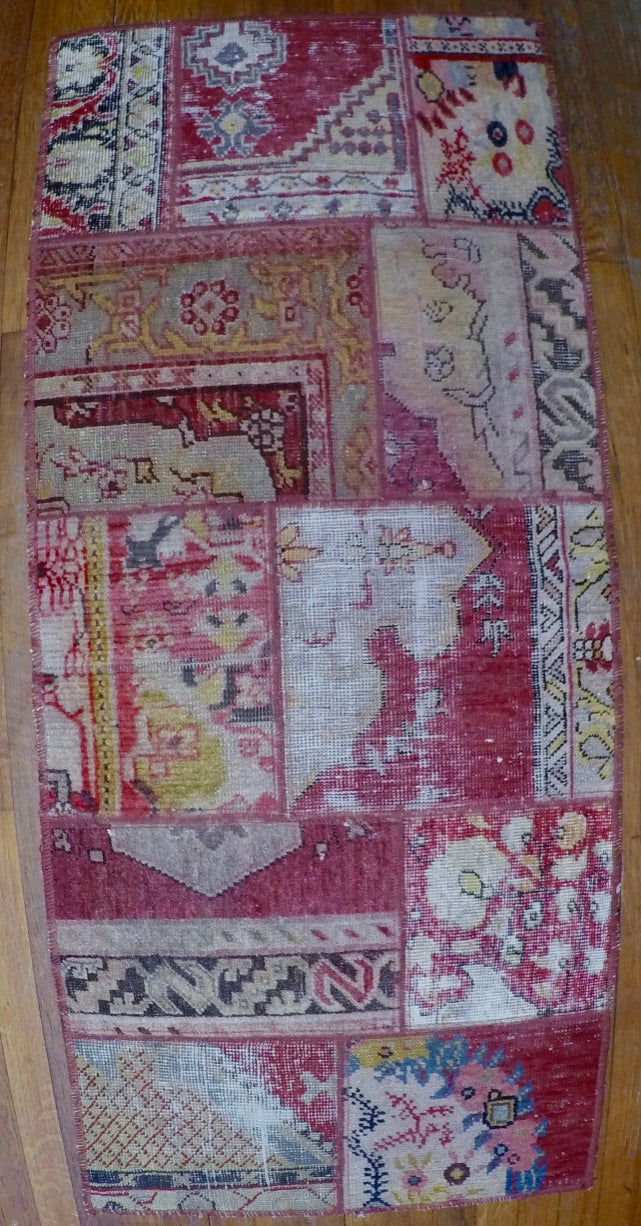 "Vintage Wool on Wool Patchwork Kilim 2'2"" X 5'"