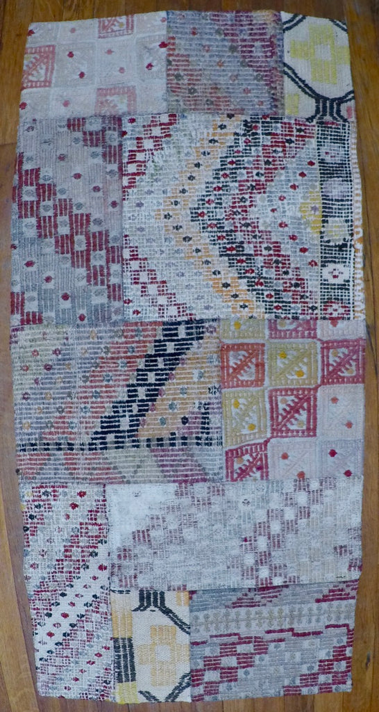 "Vintage Wool on Wool Patchwork Kilim 1'11"" X 4'1"""